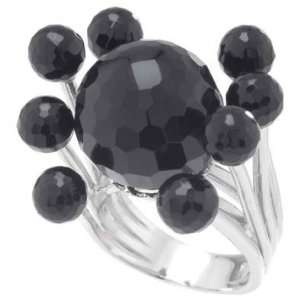 Futuristic Silver Fancy Ring, Expertly Crafted with High Quality Black