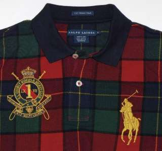 RALPH LAUREN Blue Label Red Blue & Green Plaid BIG PONY Crested SKINNY