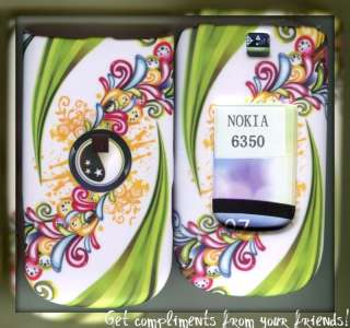Nokia 6350 AT&T 3G rubberized cover case Floiwer Green