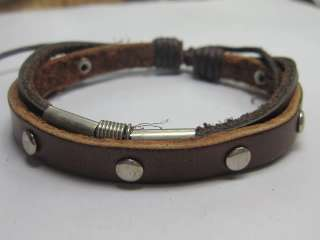 Z411 Brown Metal woven hemp leather bracelet man/woman