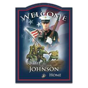 USMC Personalized Welcome Sign Wall Decor Heros Welcome