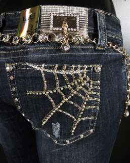 NWT Womens LA IDOL Skinny Jeans GOLD WEBS w/ CRYSTALS 1710NR