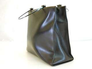 Gucci Dark Brown Leather Handbag 100% Authentic  #747