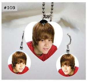 JUSTIN BIEBER Photo Charm Necklace & Earring Set #103