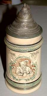 Original Antique German 1/2 L. Beer Stein Mug With Pewter Lid