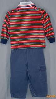 Navy Blue Pants with Red, Blue, Yellow, Green Striped Polo Shirt Size