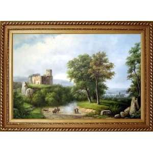 Rural Village Landscape Scenery Oil Painting, with Exquisite Dark Gold