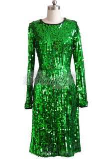 Formal Green Sequins Cocktail Prom Evening Party Gown Dress