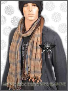 Chic Long Warm Cotton Fashion Mens Shawl Scarf Grid Design