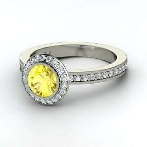Roxanne Ring, Round Yellow Sapphire Platinum Ring with