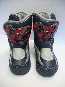 70J NEW Toddler Boys SPIDERMAN Blue Winter Snow Boots 6 NWT