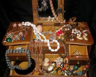 JEWELRY BOX LOT CAMEO 925 CORO AB RS NEMO JAPAN LISNER TURTLE LOCKET