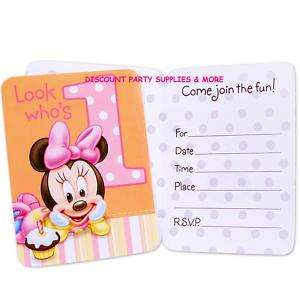 Minnie Mouse 1st Birthday Invitations Party Supplies