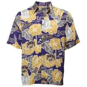 Reyn spooner l a dodgers royal blue scenic print hawaiian for Lsu hawaiian print shirts