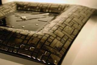 BNIB Brand New In Box PLATINUM mosaic ART GLASS Wall Clock ART DECO