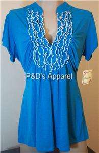 Heart Soul Womens Plus Size Clothing Aqua Blue Shirt Top Ruffle Blouse
