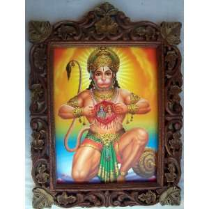 Hanuman Showing Sita Ram in his Heart, poster painting in