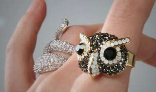 Swarovski Crystal Eyebrow Gold Owl RIng * HEMATITE*