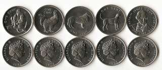 COOK ISLANDS 5 DIFFERENT UNC COINS w DOG MONKEY
