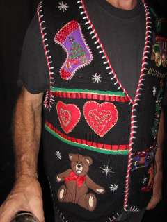 Ugly Tacky Hideous Christmas Sweater Vest Beads Jewels Embroidery Mens