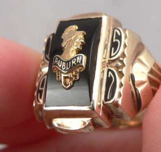 1957 Vintage AUBURN NY HIGH SCHOOL CLASS RING 10K Solid GOLD ONYX