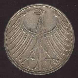 GERMANY BEAUTIFUL 5 MARK 1951 F HIGH GRADE SILVER COIN