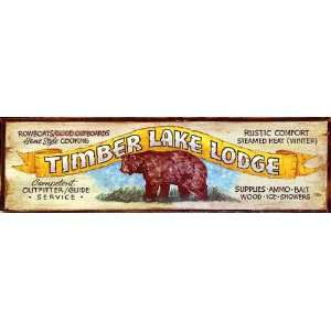 Vintage Lodge Sign   Timberlake Lodge Rustic Cabin Sign