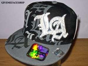 LA FITTED CAP HAT, FLAT PEAK BASEBALL CAP HIP HOP URBAN