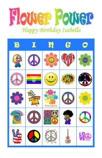 Flower Power Hippie Birthday Party Game Bingo Cards