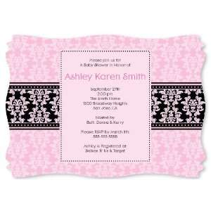 Damask Girl   Personalized Baby Shower Invitations With