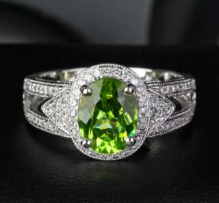 VS Peridot 14k Gold Pave Diamond Engagement Ring