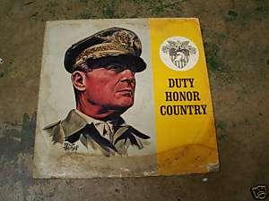 DUTY HONOR COUNTRY, GEN. DOUGLAS MACARTHUR LP ALBUM
