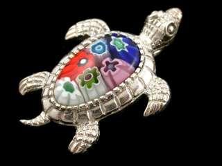 Silver Multi color Turtle Millefiori glass pendant honu