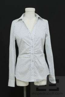 Michael Michael Kors White & Black Polka Dot Cotton Button Front Top