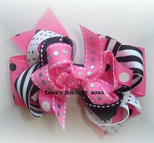 M2MG Panda Boutique Hairbow Hot pink white and black