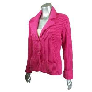 Sutton Studio Womens Cotton Chunky Ribbed Blazer Petite