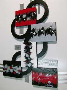 Red and Black Abstract wall Sculpture with Wood & Metal Modern decor
