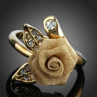 Golden Rose Flower Rhinestone Rings Swarovski Crystal 18k Yellow Gold