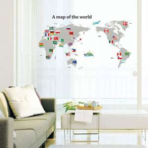 MAP OF THE WORLD Chidrens Wall Decor Sticker Decals