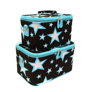 BLUE BROWN STAR 2 Cosmetic Case Luggage Tote makeup bag