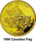 1990 CANADA CANADIAN FLAG $200 GOLD COIN LOW MINTAGE