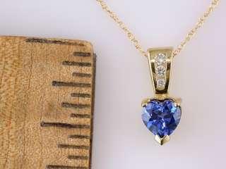Brand New 1/2ct Heart Tanzanite & Diamond Gold Pendant 18 Inch