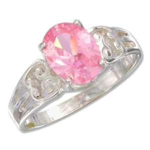 Sterling Silver Open Weave 6x8mm Oval Pink Ice Ring (size 08) Jewelry
