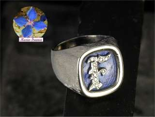 Mans estate white gold lapis & diamond signet ring, size 7 1/4, mens