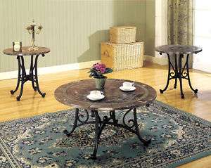 Faux Marble Top Round Coffee Table Set