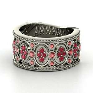 Renaissance Band, 14K White Gold Ring with Red Garnet & Ruby