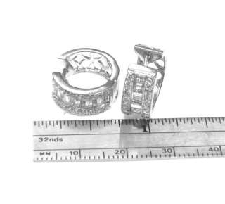 14k White Gold Invisible set Natural Diamonds Huggie Style Earrings 6
