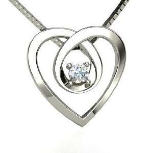 Infinite Heart Pendant, 14K White Gold Necklace with Diamond