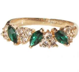sparkle Emerald swarovski crystal gold tone Ring SIZE 6 8.5