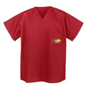 University of Kansas Scrub Top Shirt XXL Red Sports